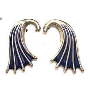 Vintage blue silver mermaid earrings